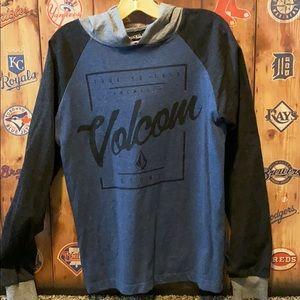Volcom pullover tee with hood boys M (8-10)